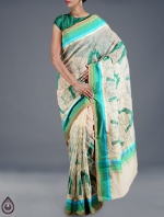 Online Embroidery Tussar Silk Sarees_46