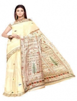 Online Warli Paint Tussar Silk Sarees_11