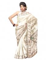 Online Warli Paint Tussar Silk Sarees_13