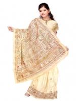 Online Warli Paint Tussar Silk Sarees_14