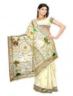 Online Warli Paint Tussar Silk Sarees_2
