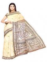 Online Warli Paint Tussar Silk Sarees_6
