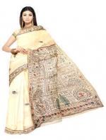 Online Warli Paint Tussar Silk Sarees_7