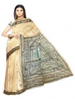 Online Warli Paint Tussar Silk Sarees_8