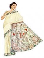 Online Warli Paint Tussar Silk Sarees_1