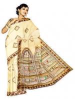 Online Warli Paint Tussar Silk Sarees_3