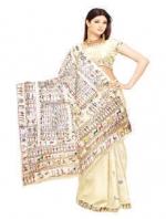 Online Warli Paint Tussar Silk Sarees_5
